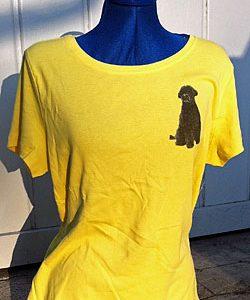 Ladies Short Sleeve Tshirt with Sitting Dog